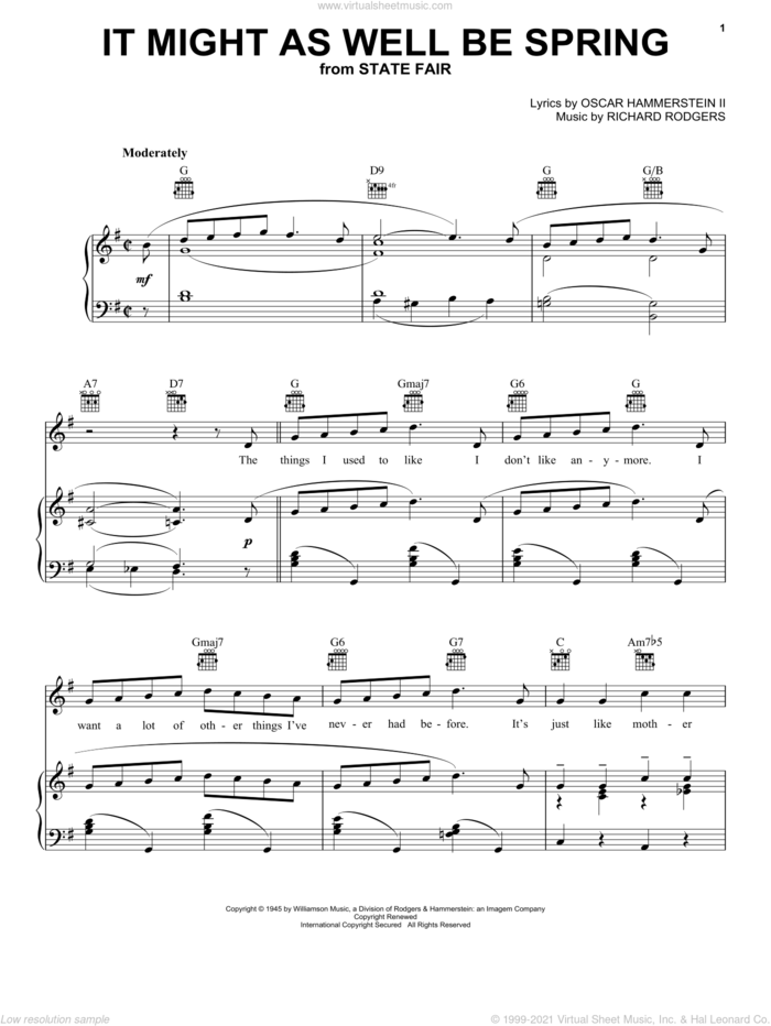 It Might As Well Be Spring sheet music for voice, piano or guitar by Rodgers & Hammerstein, State Fair (Musical), Oscar II Hammerstein and Richard Rodgers, intermediate skill level