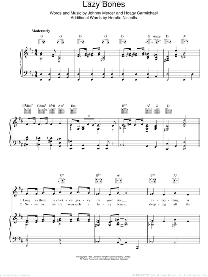 Lazybones sheet music for voice, piano or guitar by Johnny Mercer and Hoagy Carmichael, intermediate skill level