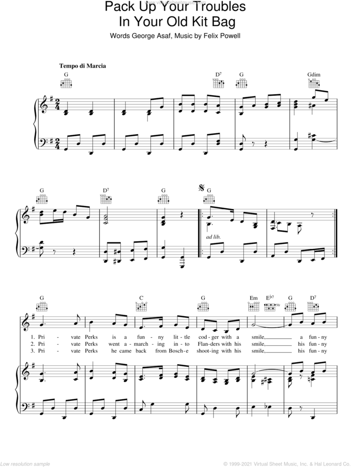 Pack Up Your Troubles (In Your Old Kit Bag) sheet music for voice, piano or guitar by Felix Powell and George Asef, intermediate skill level