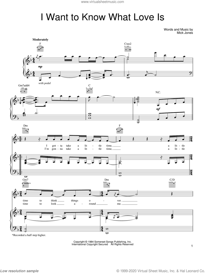 I Want To Know What Love Is sheet music for voice, piano or guitar by Mariah Carey, Foreigner and Mick Jones, intermediate skill level