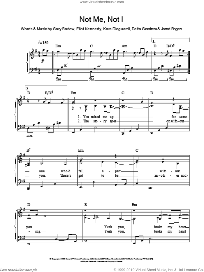Not Me, Not I, (easy) sheet music for piano solo by Delta Goodrem, Eliot Kennedy, Gary Barlow, Jarrad Rogers and Kara DioGuardi, easy skill level