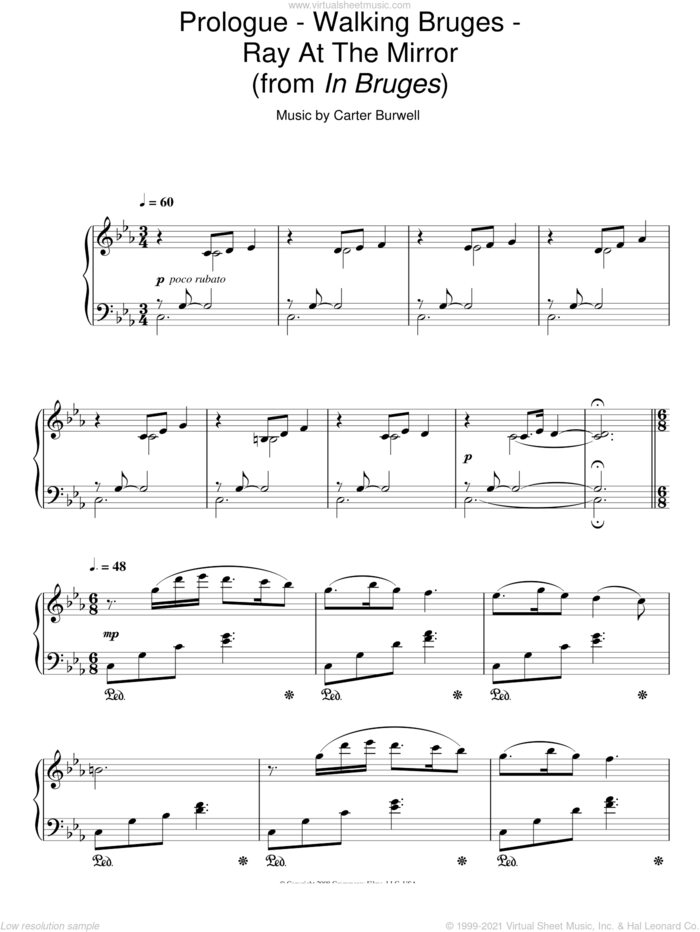 Prologue - Walking Bruges - Ray At The Mirror sheet music for piano solo by Carter Burwell, intermediate skill level