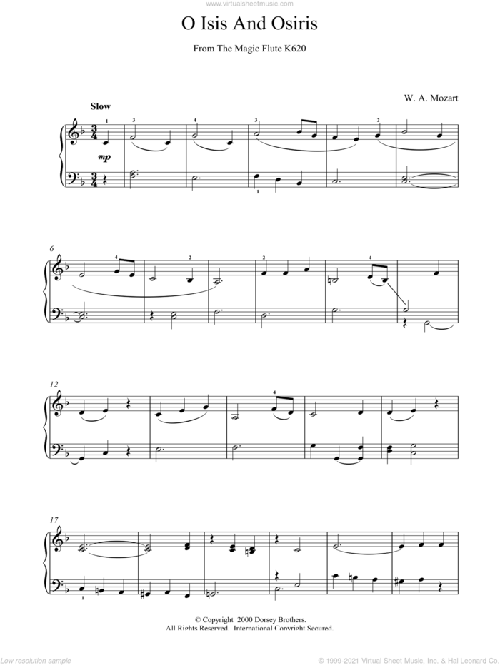 O Isis And Osiris From The Magic Flute K620 sheet music for piano solo by Wolfgang Amadeus Mozart, classical score, intermediate skill level
