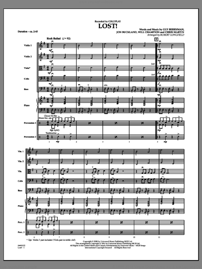 Lost! (COMPLETE) sheet music for orchestra by Guy Berryman, Chris Martin, Jon Buckland, Will Champion, Coldplay and Robert Longfield, intermediate skill level