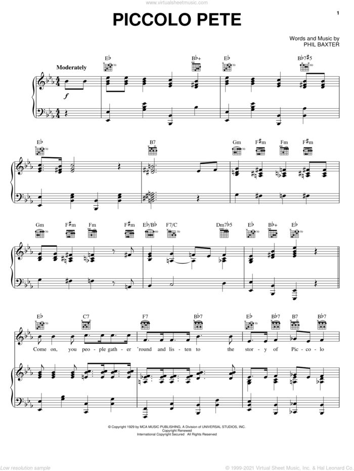 Piccolo Pete sheet music for voice, piano or guitar by Ted Weems and Phil Baxter, intermediate skill level