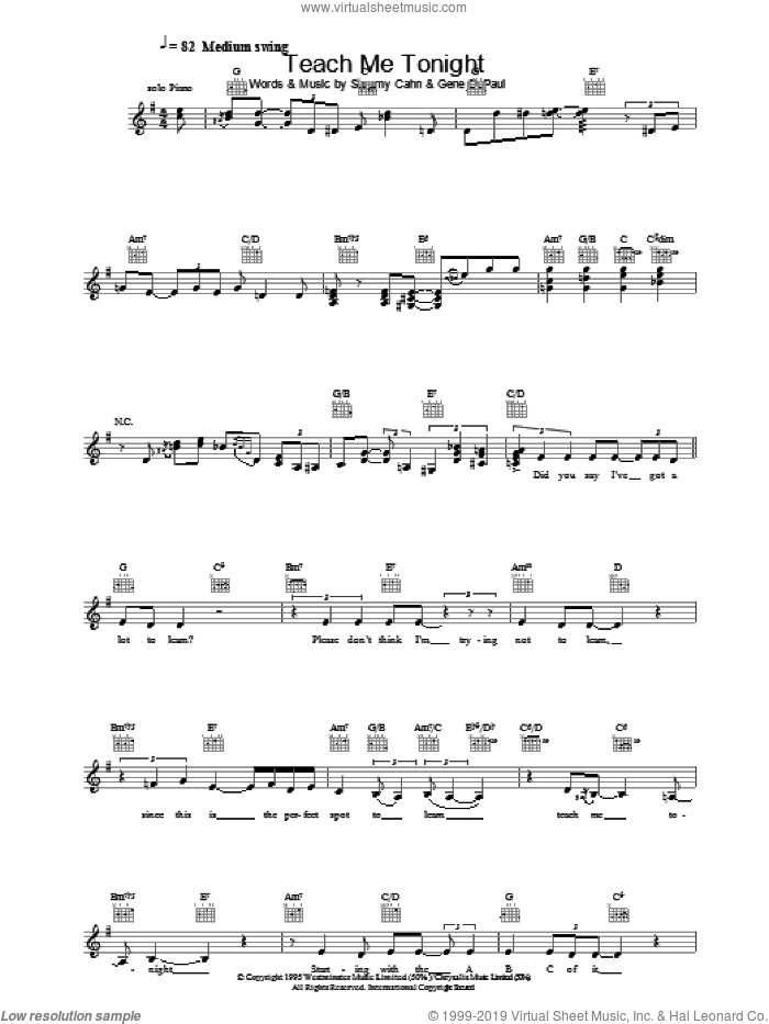 Teach Me Tonight sheet music for voice and other instruments (fake book) by Sammy Cahn and Gene DePaul, intermediate skill level