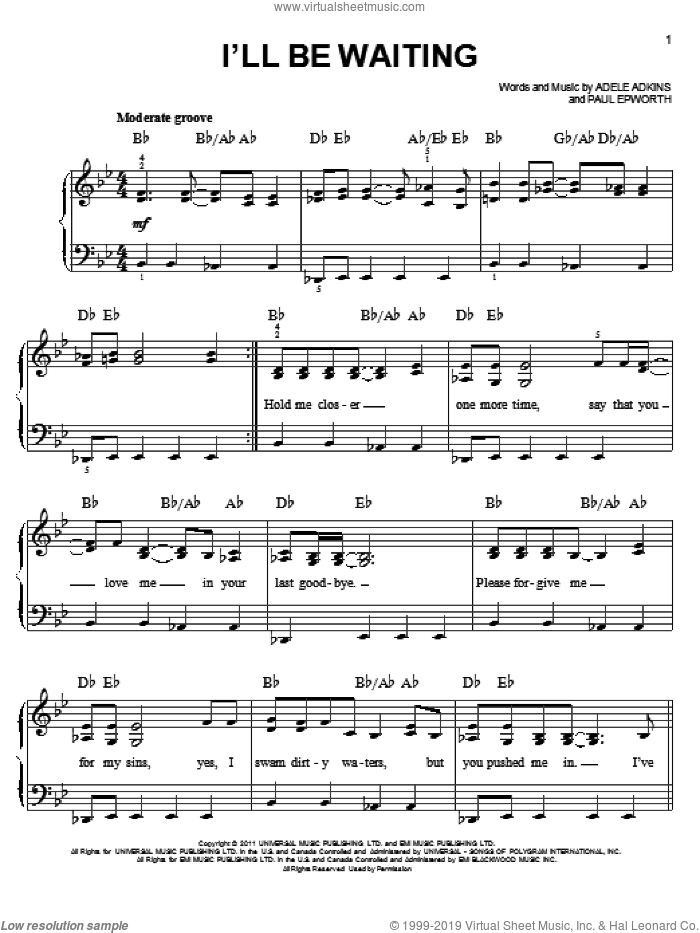 I'll Be Waiting sheet music for piano solo by Adele, Adele Adkins and Paul Epworth, easy skill level