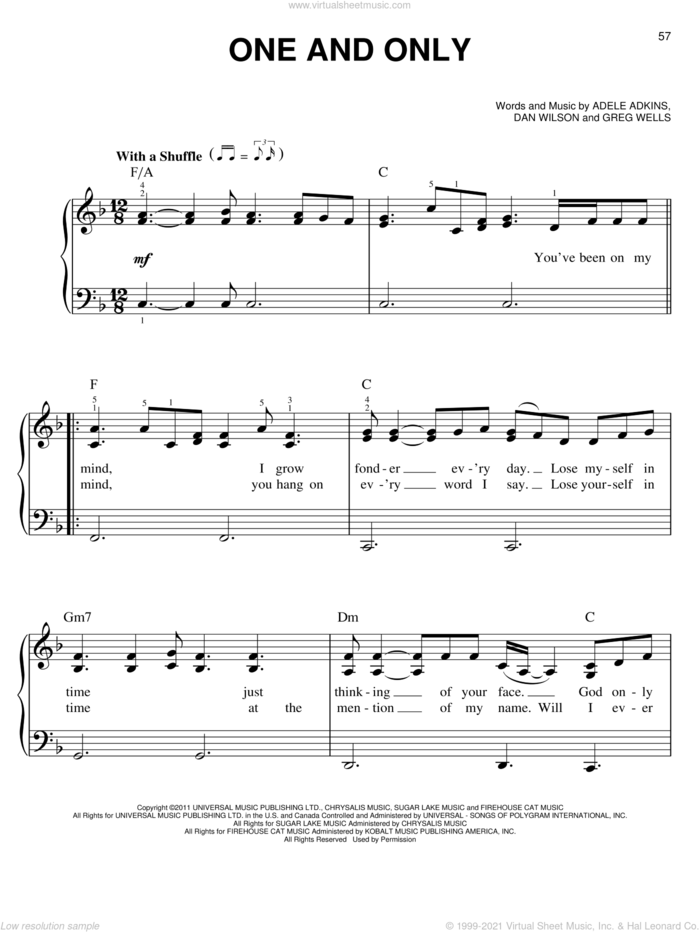 One And Only sheet music for piano solo by Adele, Adele Adkins, Dan Wilson and Greg Wells, easy skill level