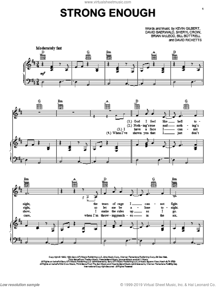 Strong Enough sheet music for voice, piano or guitar by Sheryl Crow, Bill Bottrell, Brian MacLeod, David Baerwald, David Ricketts and Kevin Gilbert, intermediate skill level