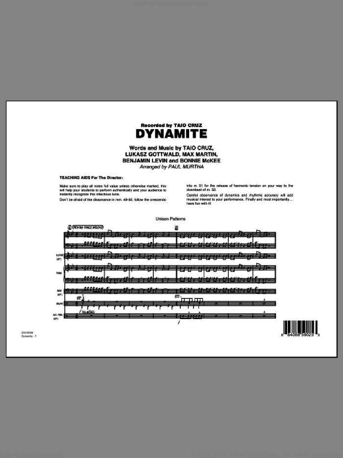 Dynamite (COMPLETE) sheet music for jazz band by Max Martin, Benjamin Levin, Bonnie McKee, Lukasz Gottwald, Paul Murtha and Taio Cruz, intermediate skill level