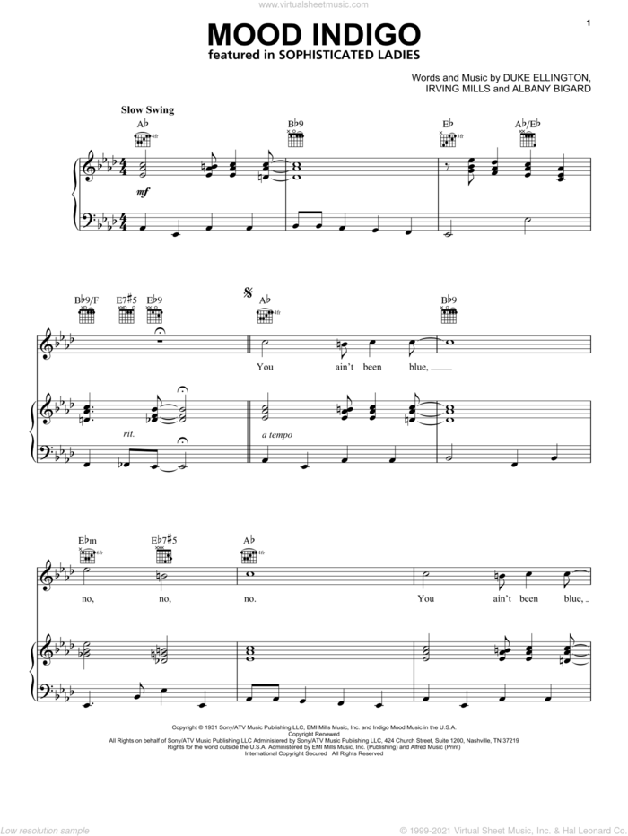 Mood Indigo sheet music for voice, piano or guitar by Duke Ellington, Albany Bigard and Irving Mills, intermediate skill level
