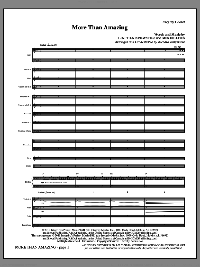 More Than Amazing (complete set of parts) sheet music for orchestra/band (Orchestra) by Lincoln Brewster, Mia Fieldes and Richard Kingsmore, intermediate skill level