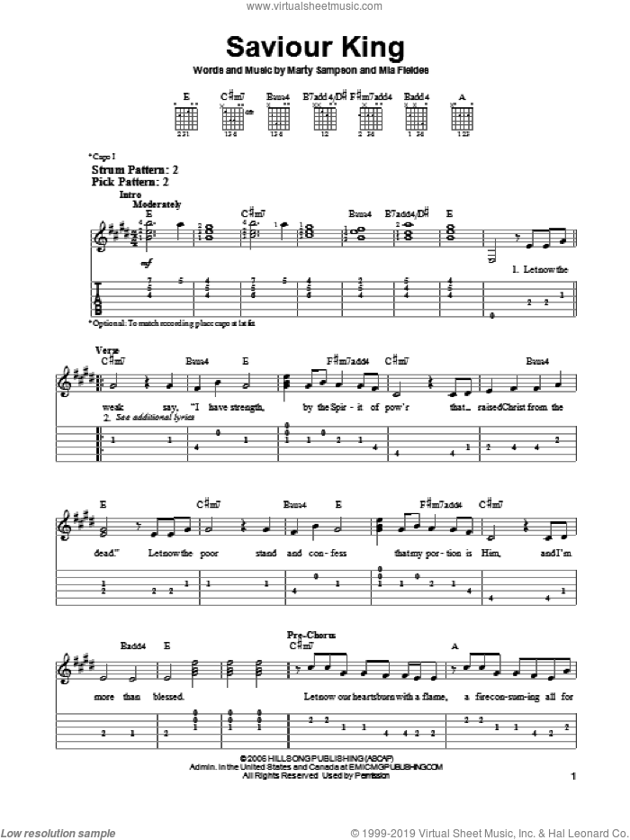 Saviour King sheet music for guitar solo (easy tablature) by Hillsong United, Marty Sampson and Mia Fieldes, easy guitar (easy tablature)