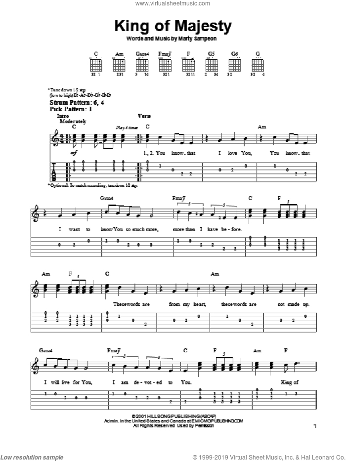 King Of Majesty sheet music for guitar solo (easy tablature) by Hillsong United and Marty Sampson, easy guitar (easy tablature)
