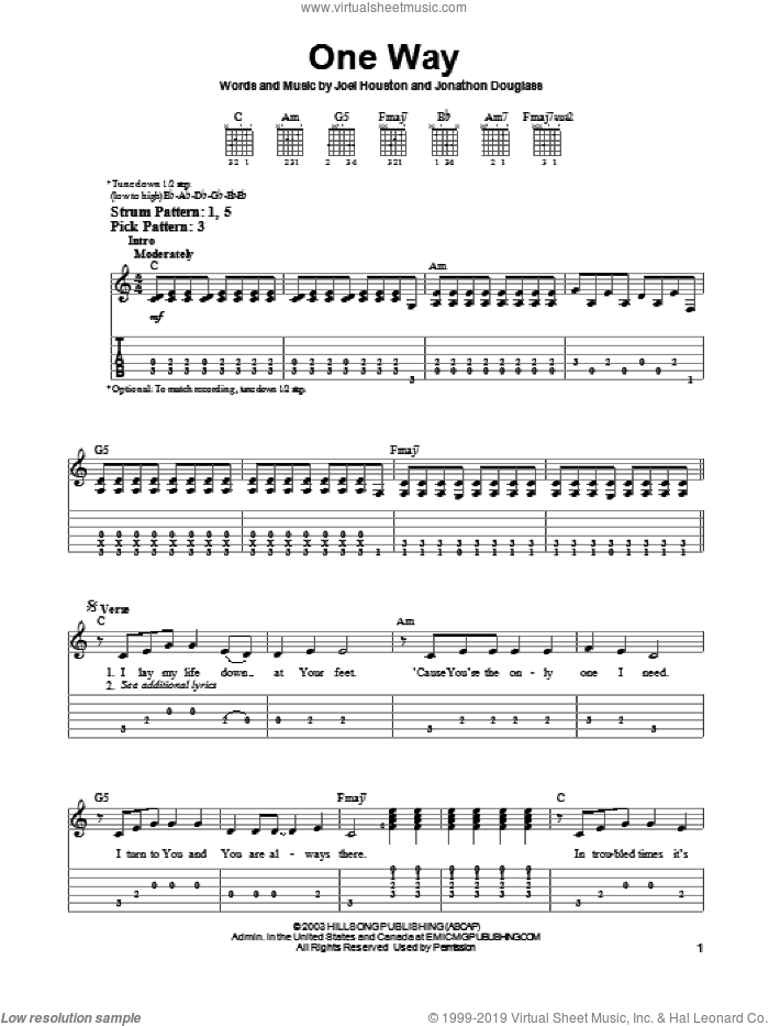 One Way sheet music for guitar solo (easy tablature) by Hillsong United, Phillips, Craig & Dean, Joel Houston and Jonathon Douglass, easy guitar (easy tablature)