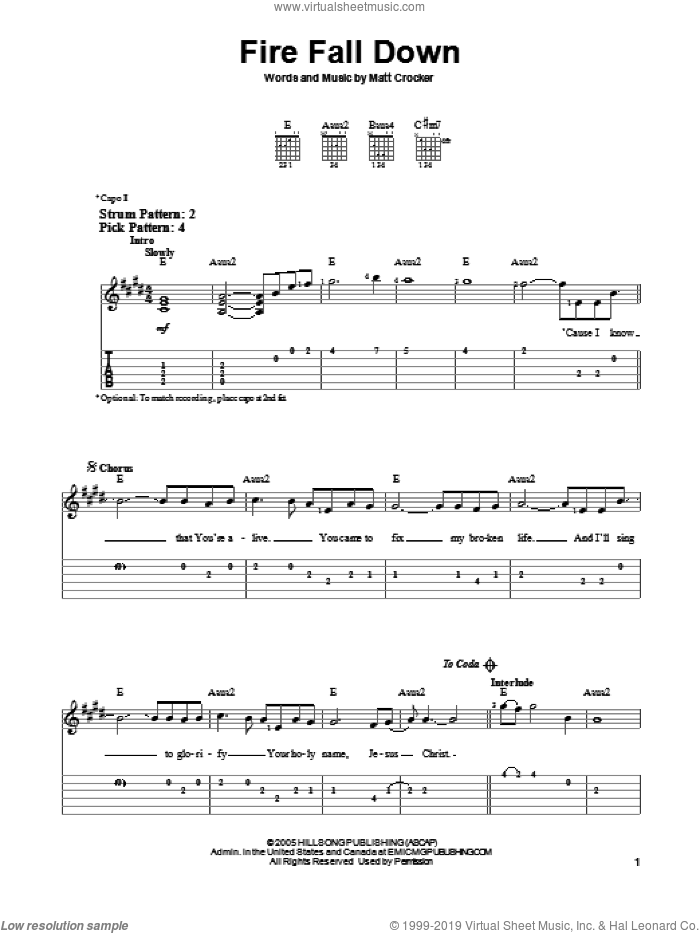 Fire Fall Down sheet music for guitar solo (easy tablature) by Hillsong United and Matt Crocker, easy guitar (easy tablature)