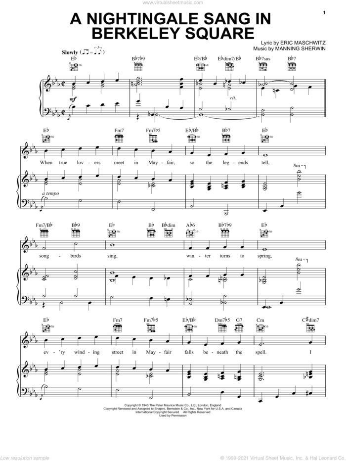 A Nightingale Sang In Berkeley Square sheet music for voice, piano or guitar by Manhattan Transfer, Bobby Darin, Eric Maschwitz and Manning Sherwin, intermediate skill level