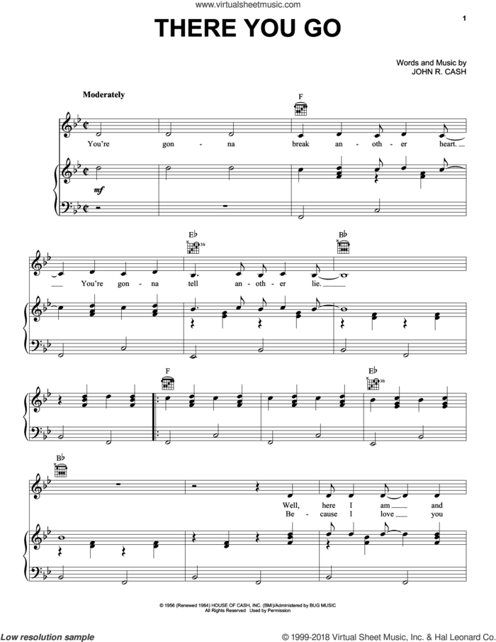 There You Go sheet music for voice, piano or guitar by Johnny Cash, intermediate skill level