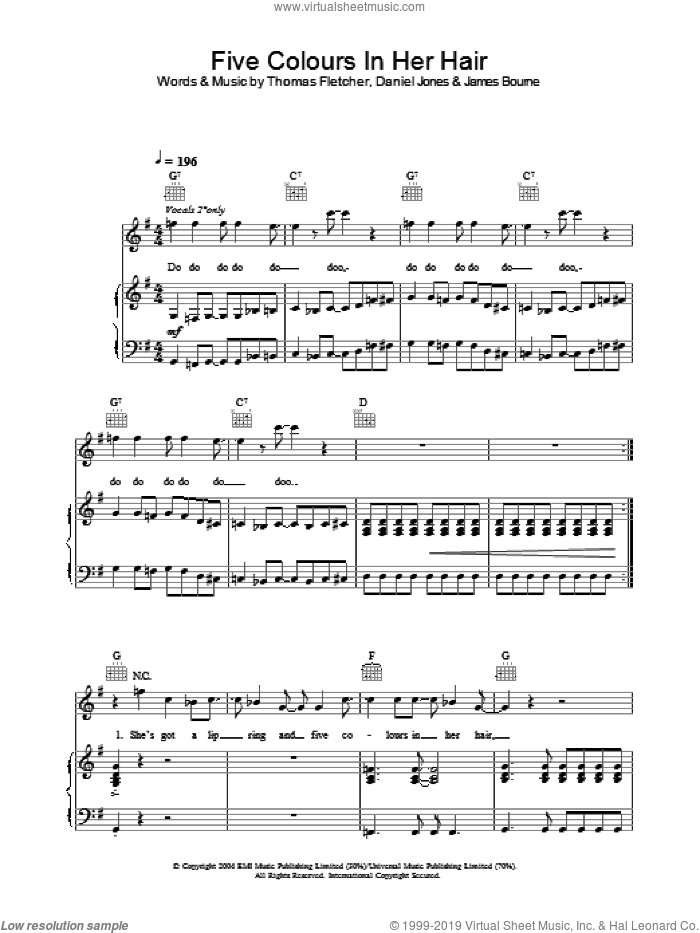 Five Colours In Her Hair sheet music for voice, piano or guitar by McFly, Danny Jones, James Bourne and Thomas Fletcher, intermediate skill level