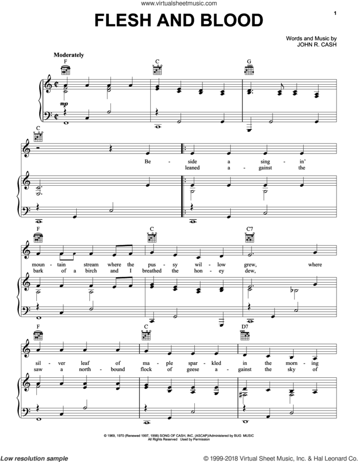 Flesh And Blood sheet music for voice, piano or guitar by Johnny Cash, intermediate skill level