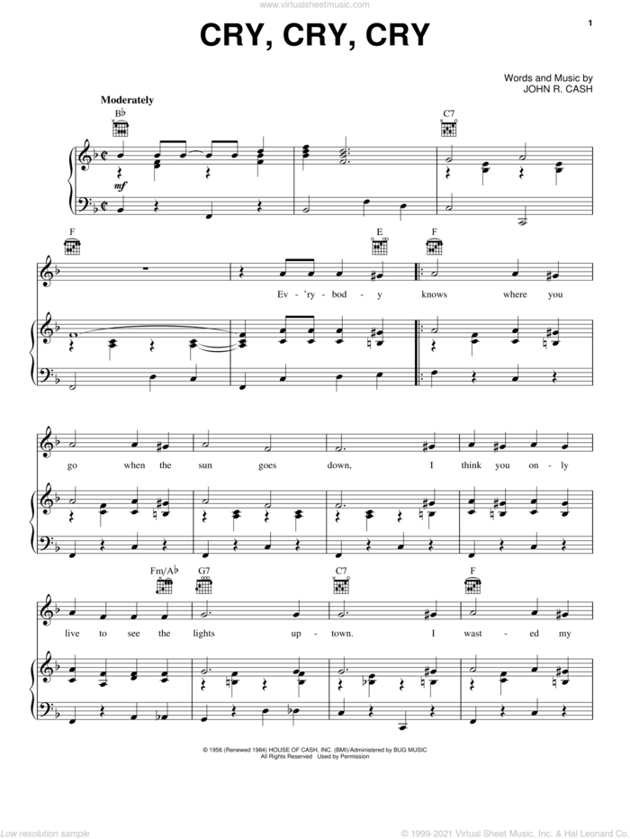 Cry, Cry, Cry sheet music for voice, piano or guitar by Johnny Cash, intermediate skill level