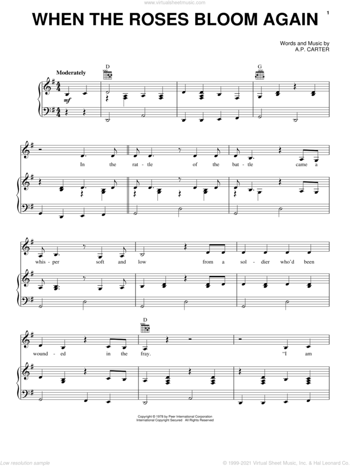 When The Roses Bloom Again sheet music for voice, piano or guitar by Johnny Cash and A.P. Carter, intermediate skill level