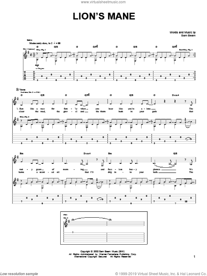 Lion's Mane sheet music for guitar solo (chords) by Iron & Wine and Samuel Beam, easy guitar (chords)