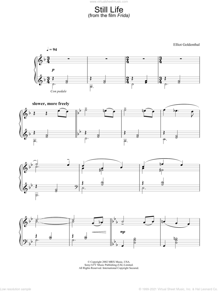 Still Life sheet music for piano solo by Frida and Elliot Goldenthal, intermediate skill level