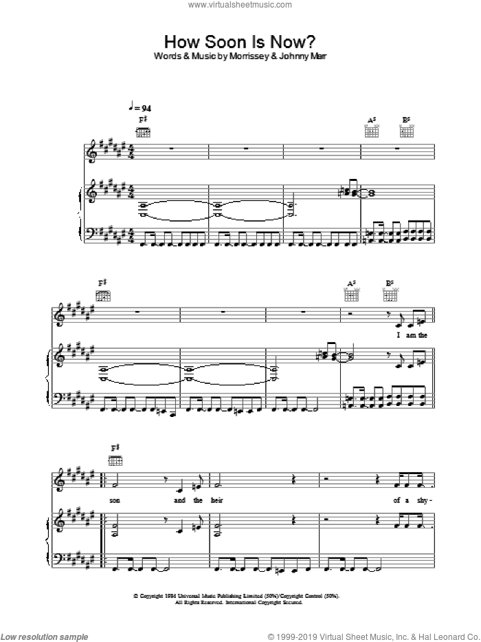 How Soon Is Now? sheet music for voice, piano or guitar by The Smiths, Johnny Marr and Steven Morrissey, intermediate skill level