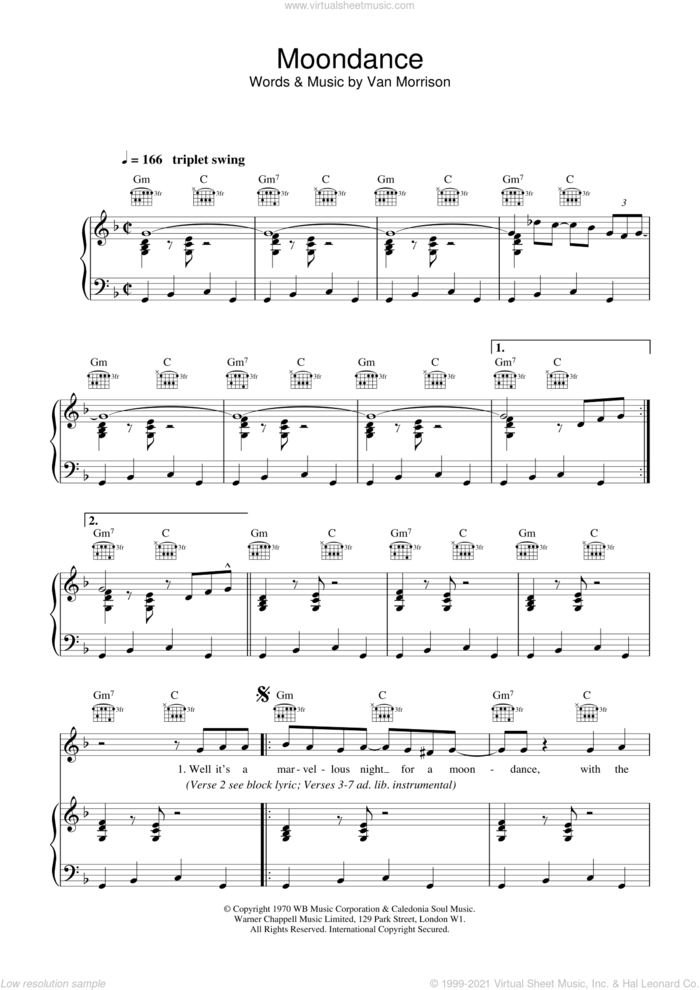 Moondance sheet music for voice, piano or guitar by Van Morrison, intermediate skill level