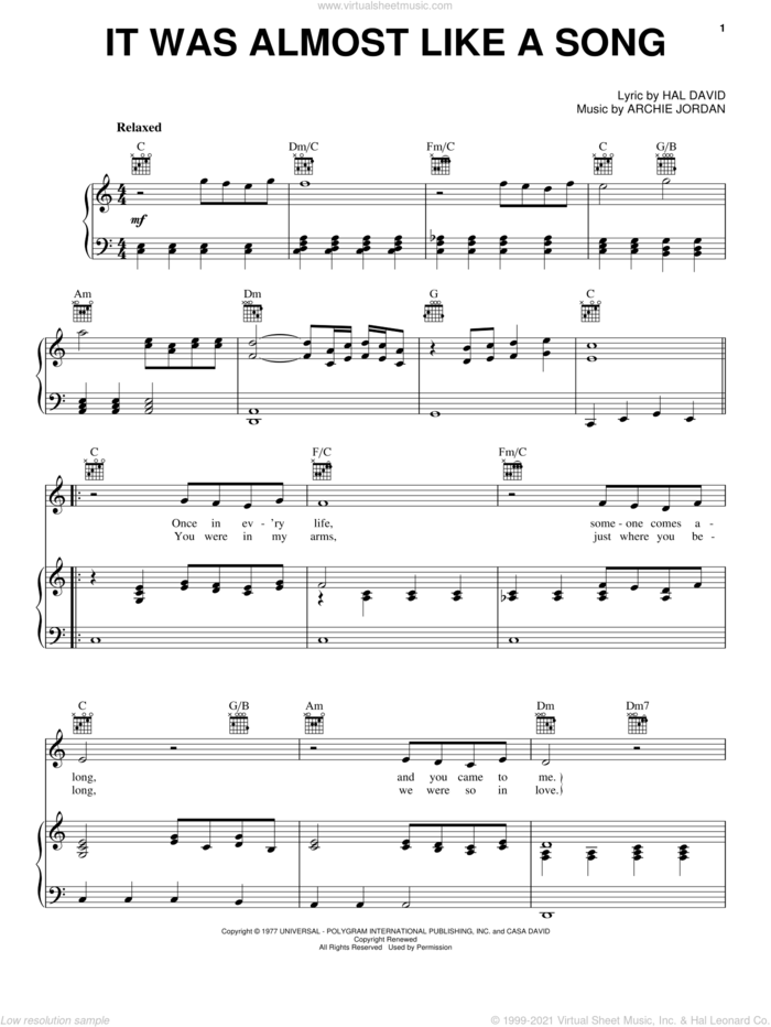 It Was Almost Like A Song sheet music for voice, piano or guitar by Ronnie Milsap, Archie Jordan and Hal David, intermediate skill level