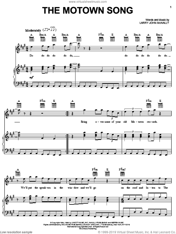 The Motown Song sheet music for voice, piano or guitar by Rod Stewart and Larry John McNally, intermediate skill level