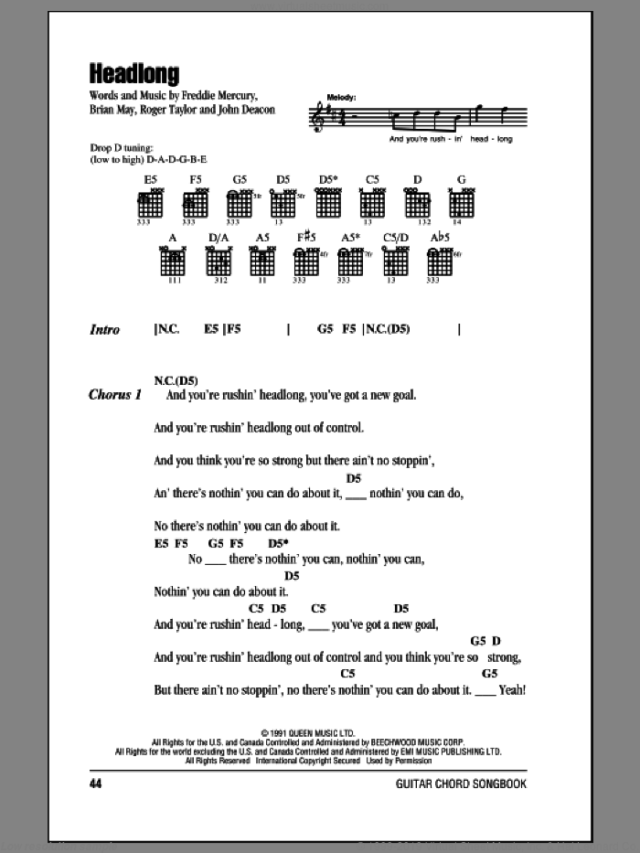 Headlong sheet music for guitar (chords) by Queen, Brian May, Freddie Mercury, John Deacon and Roger Taylor, intermediate skill level