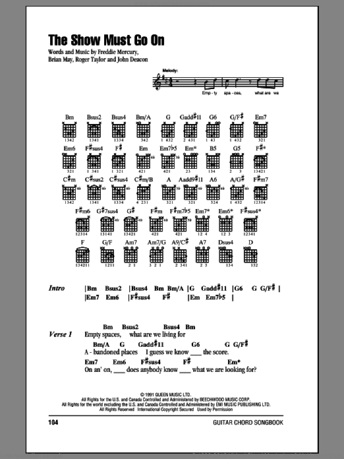 The Show Must Go On sheet music for guitar (chords) by Queen, Brian May, Freddie Mercury, John Deacon and Roger Taylor, intermediate skill level