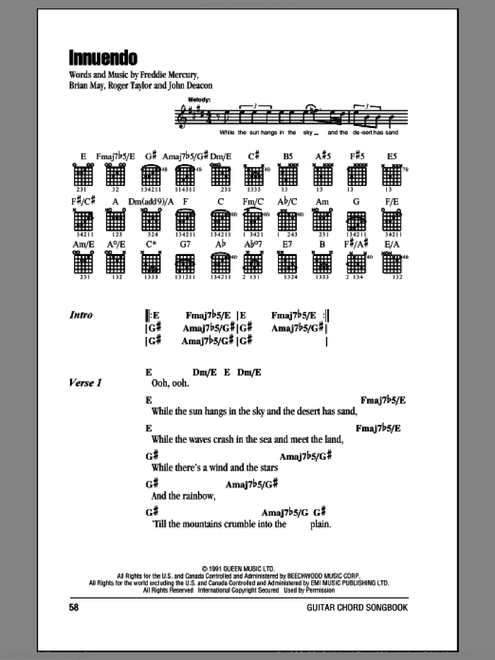 Innuendo sheet music for guitar (chords) by Queen, Brian May, Freddie Mercury, John Deacon and Roger Taylor, intermediate skill level