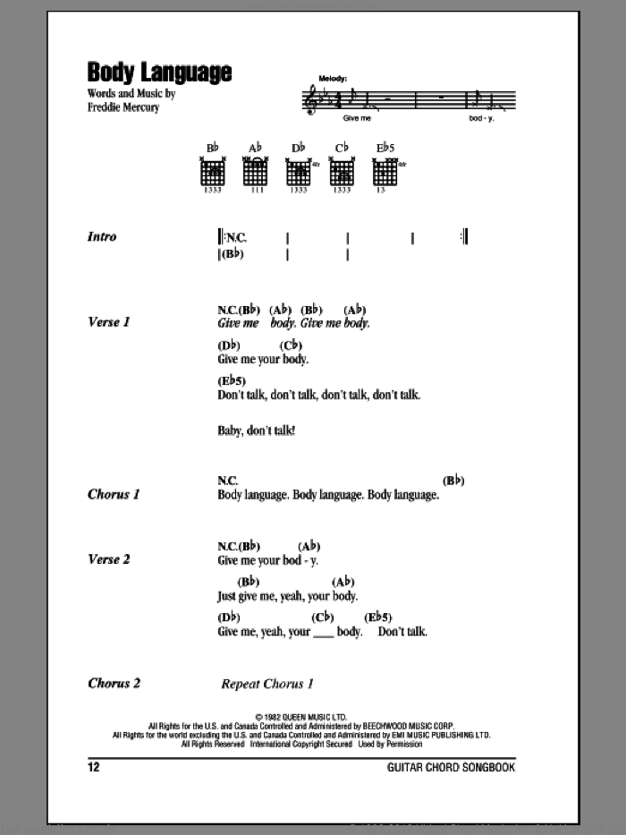 Body Language sheet music for guitar (chords) by Queen and Freddie Mercury, intermediate skill level