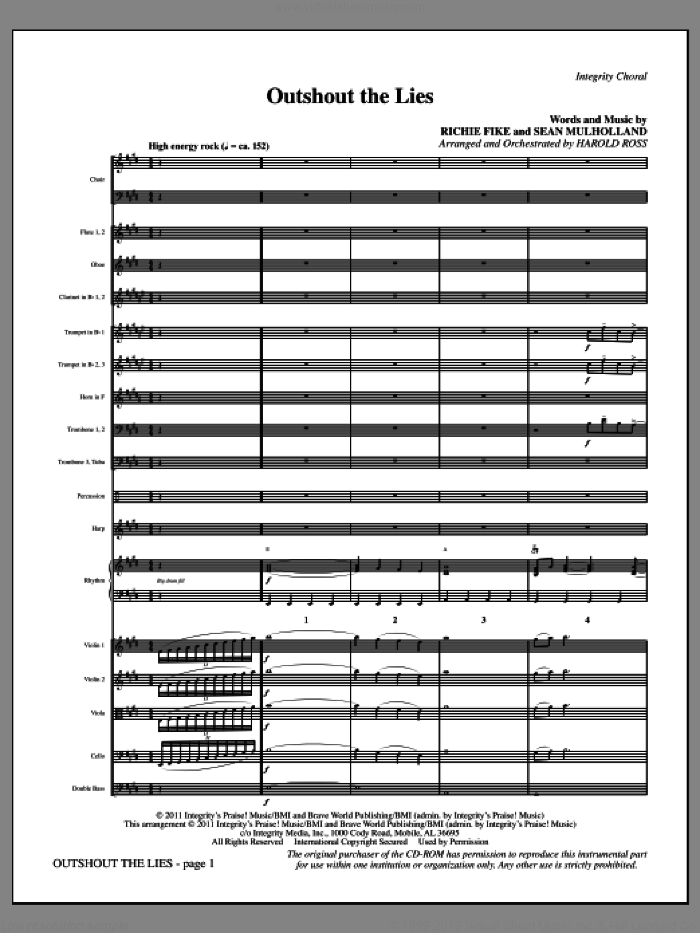 Outshout The Lies (complete set of parts) sheet music for orchestra/band (Orchestra) by Harold Ross, Richie Fike and Sean Mulholland, intermediate skill level