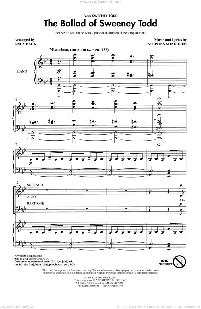 The Ballad Of Sweeney Todd sheet music for choir (SAB: soprano, alto, bass) by Stephen Sondheim and Andy Beck, intermediate skill level