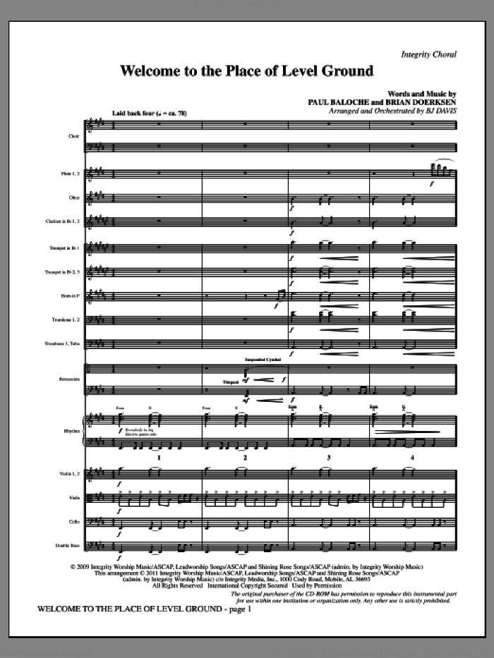 Welcome To The Place Of Level Ground (complete set of parts) sheet music for orchestra/band (Orchestra) by Paul Baloche, Brian Doerksen and BJ Davis, intermediate skill level