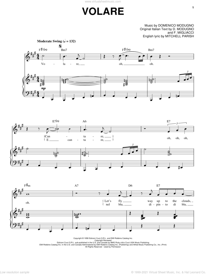 Volare (Nel Blu, Dipinto Di Blu) sheet music for voice and piano by Dean Martin, Frank Sinatra, Sammy Davis, Jr., Bobby Rydell, D. Modugno, Domenico Modugno, Franco Migliacci and Mitchell Parish, intermediate skill level