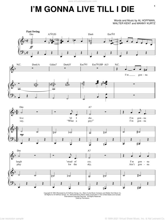 I'm Gonna Live Till I Die sheet music for voice and piano by Frank Sinatra, Dean Martin, Sammy Davis, Jr., Al Hoffman, Manny Kurtz and Walter Kent, intermediate skill level