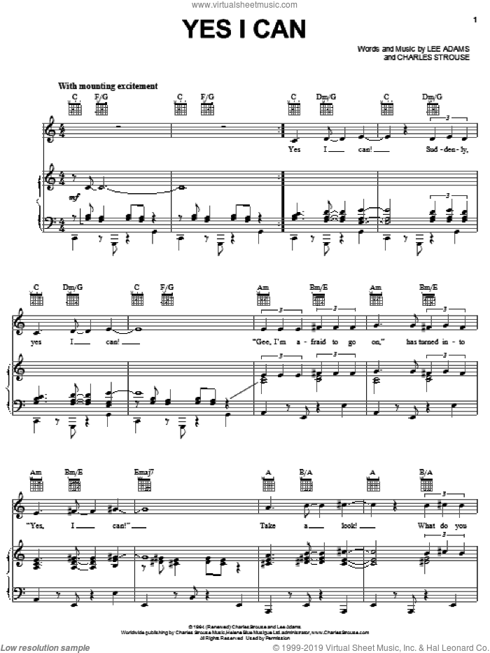 Yes I Can sheet music for voice, piano or guitar by Charles Strouse, Sammy Davis, Jr. and Lee Adams, intermediate skill level
