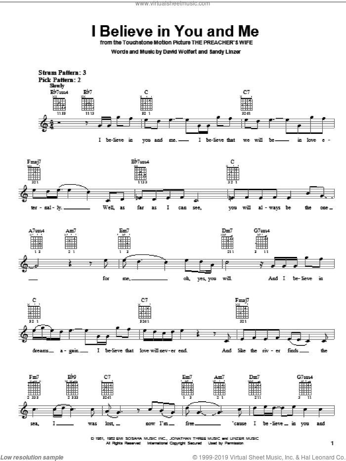 I Believe In You And Me sheet music for guitar solo (chords) by The Four Tops, Whitney Houston, David Wolfert and Sandy Linzer, wedding score, easy guitar (chords)
