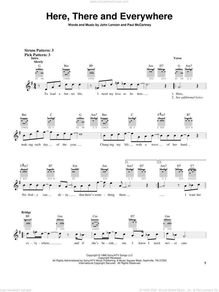 Here, There And Everywhere sheet music for guitar solo (chords) by The Beatles, George Benson, John Lennon and Paul McCartney, wedding score, easy guitar (chords)