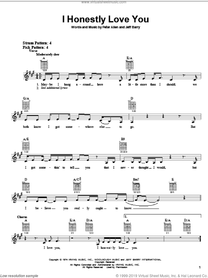 I Honestly Love You sheet music for guitar solo (chords) by Olivia Newton-John, Jeff Barry and Peter Allen, wedding score, easy guitar (chords)