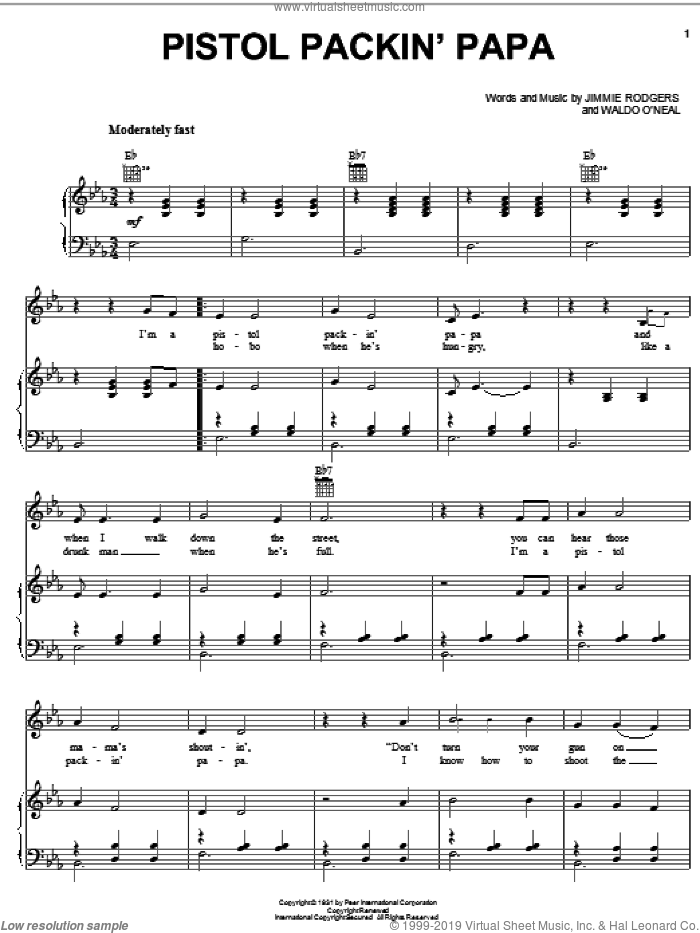 Pistol Packin' Papa sheet music for voice, piano or guitar by Jimmie Rodgers and Hank Snow, intermediate skill level