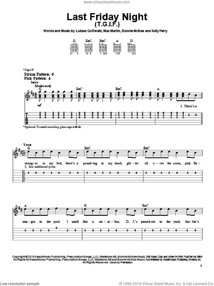 Last Friday Night (T.G.I.F.) sheet music for guitar solo (easy tablature) by Katy Perry, Bonnie McKee, Lukasz Gottwald and Max Martin, easy guitar (easy tablature)