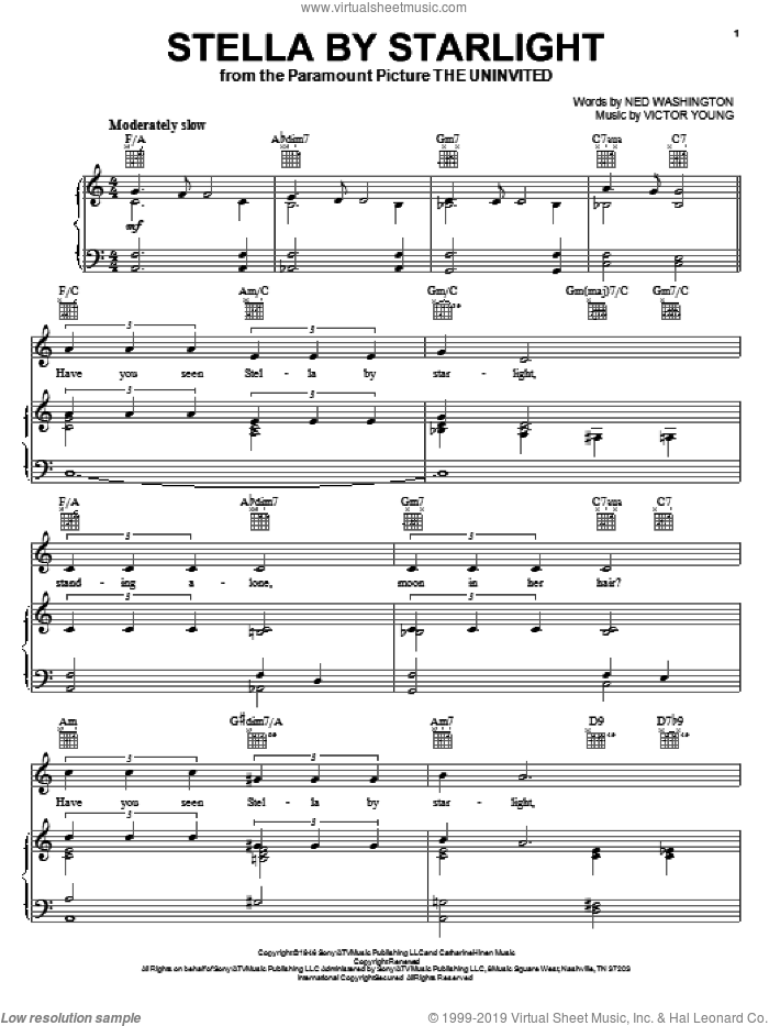Stella By Starlight sheet music for voice, piano or guitar by Victor Young and Ned Washington, intermediate skill level