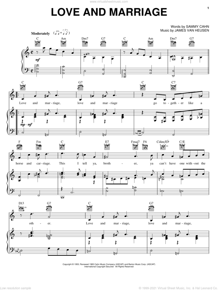 Love And Marriage sheet music for voice, piano or guitar by Frank Sinatra, Jimmy van Heusen and Sammy Cahn, intermediate skill level