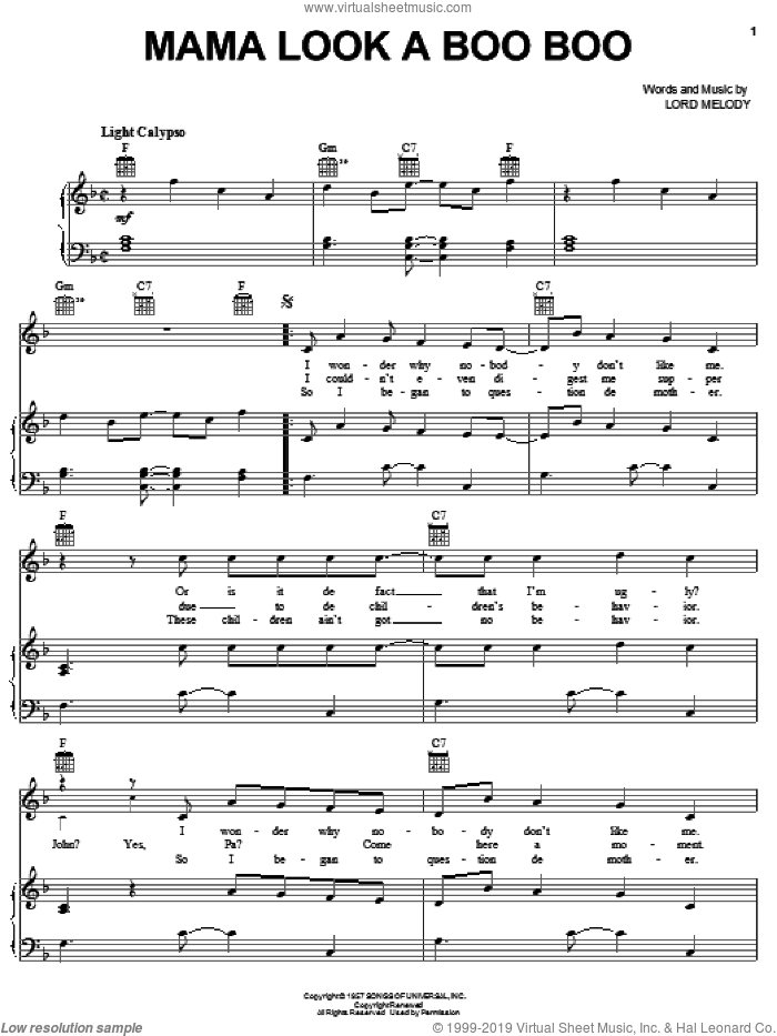 Mama Look A Boo Boo sheet music for voice, piano or guitar by Harry Belafonte and Miscellaneous, intermediate skill level